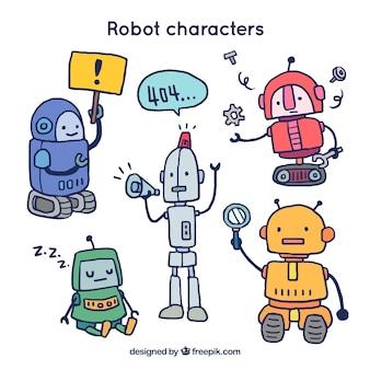Hand getrokken robot karakter met verschillende poses-collectie