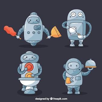 Hand getrokken robots-collectie