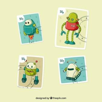 Hand getrokken robots postzegels