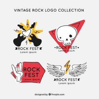 Hand getrokken rock logo-collectie met vintage stijl