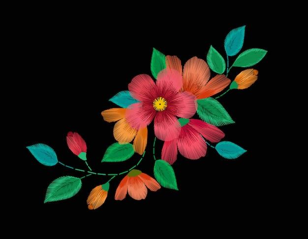 Hand getrokken rode bloemen op zwarte achtergrond