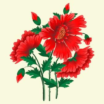 Hand getrokken rode bloemen
