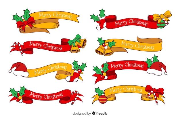 Hand getrokken rode en gele lintcollectie van kerstmis