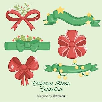 Hand getrokken rode en groene kerst lint collectie