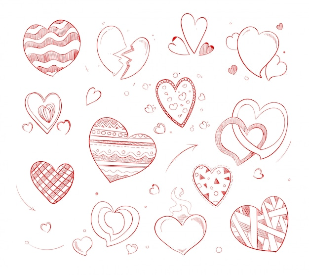Hand getrokken rode harten vector doodle pictogrammen