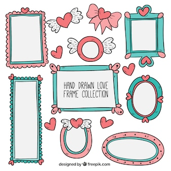 Hand getrokken romantische frames