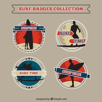 Hand getrokken ronde surf badges