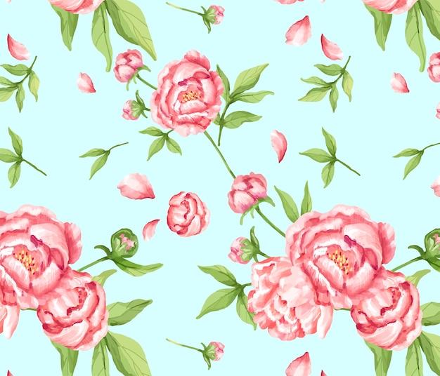 Hand getrokken roze pioenpatroon