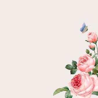 Hand getrokken roze rozenkader op beige achtergrondvector