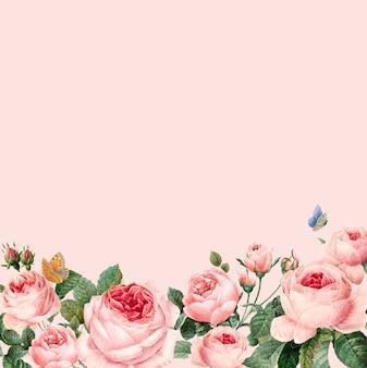 Hand getrokken roze rozenkader op pastelkleur roze vector als achtergrond