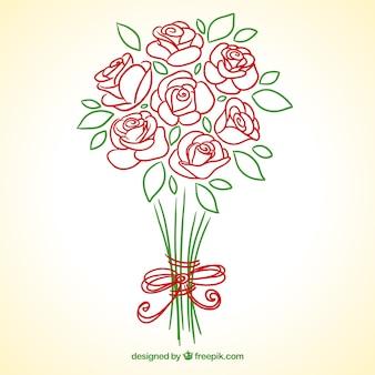 Hand getrokken rozen boeket