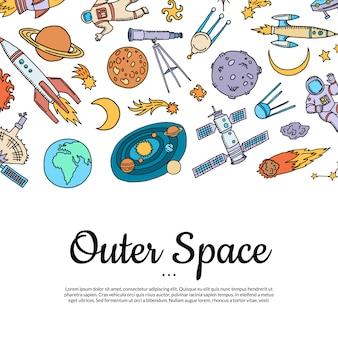 Hand getrokken ruimte-elementen met kopie ruimte