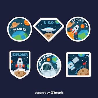 Hand getrokken ruimte stickers set