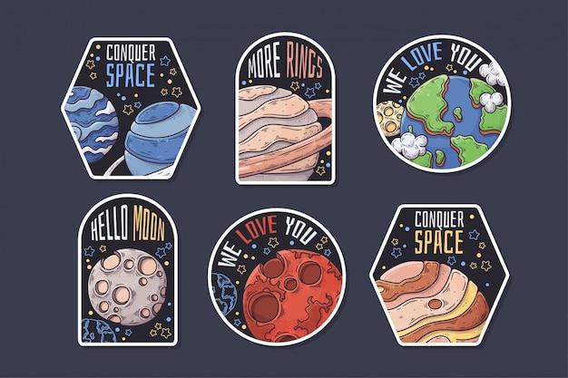 Hand getrokken ruimtestickers met thematische tekstverzameling