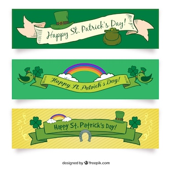 Hand getrokken saint patrick's day banners