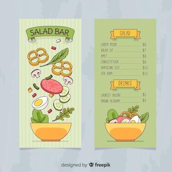 Hand getrokken salade gezonde menusjabloon