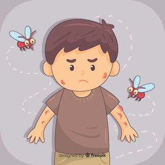 Hand getrokken samenstelling van muggenbeet