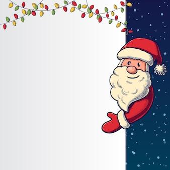 Hand getrokken santa claus-holdingskaart