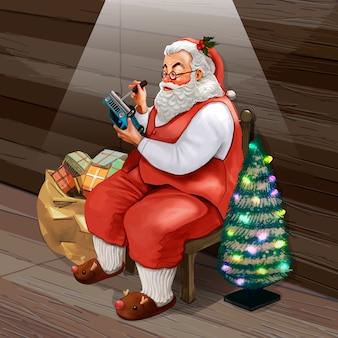 Hand getrokken santa claus kerstcadeaus maken
