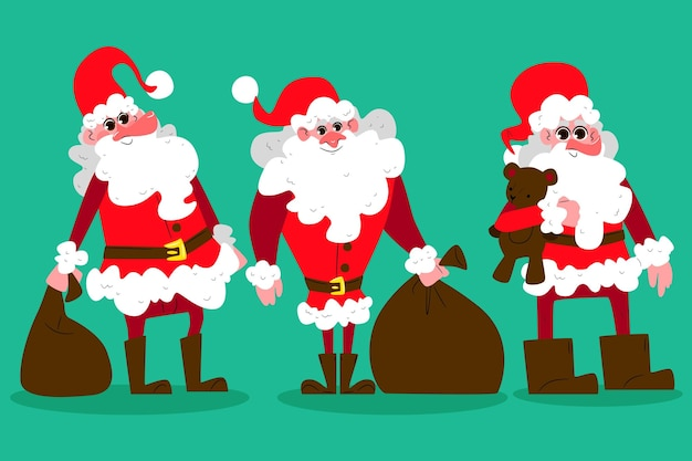 Hand getrokken santa claus-tekenset