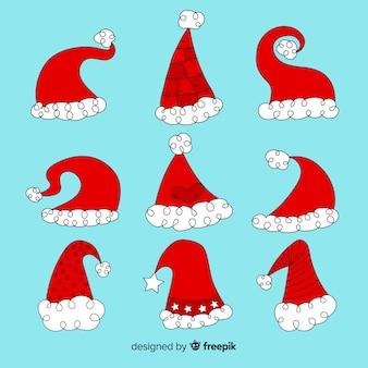 Hand getrokken santa's hoed-collectie