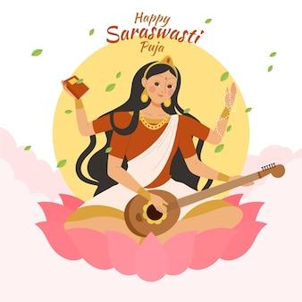 Hand getrokken saraswati geïllustreerd