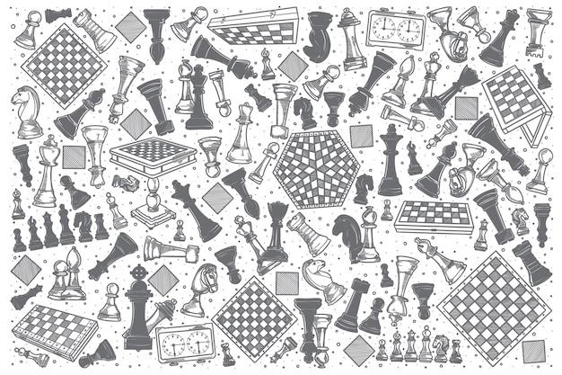 Hand getrokken schaken doodle set.