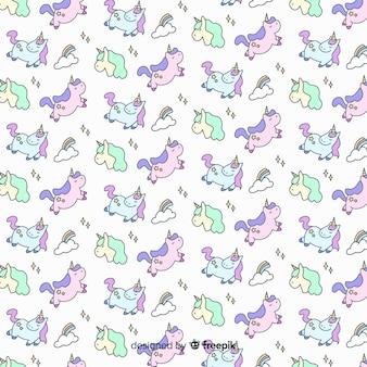 Hand getrokken schattig eenhoorn patroon