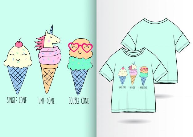 Hand getrokken schattig ijs met t-shirt