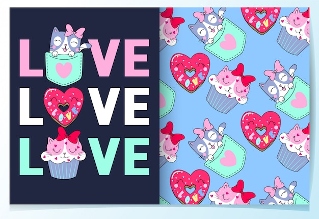 Hand getrokken schattig kat, donut & cupcake patroon set