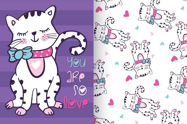 Hand getrokken schattig kat met patroon set