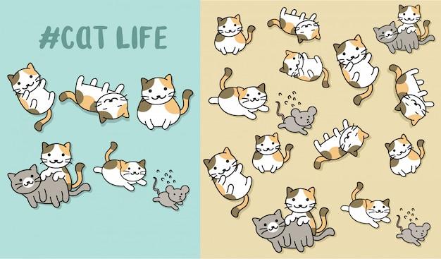 Hand getrokken schattig kat met patroon vector set
