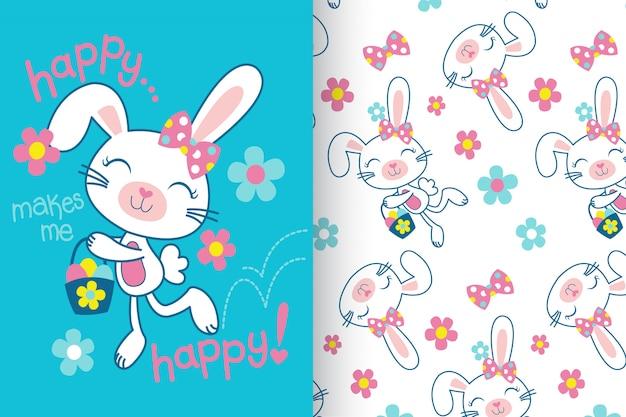 Hand getrokken schattig konijn met patroon set