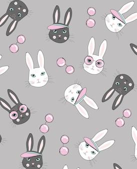 Hand getrokken schattig konijn vector ontwerp voor t-shirt afdrukken