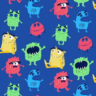 Hand getrokken schattig monster patroon