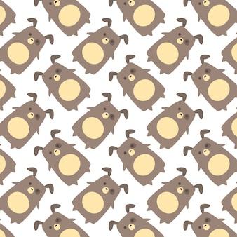Hand getrokken schattig pug met patroon vector