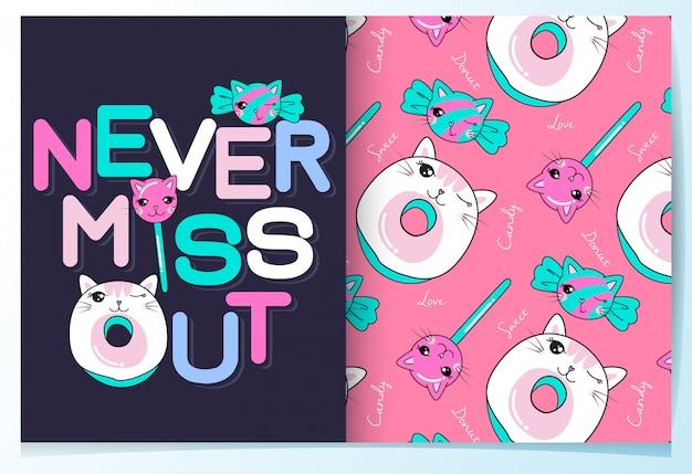 Hand getrokken schattig snoep met typografie patroon ingesteld