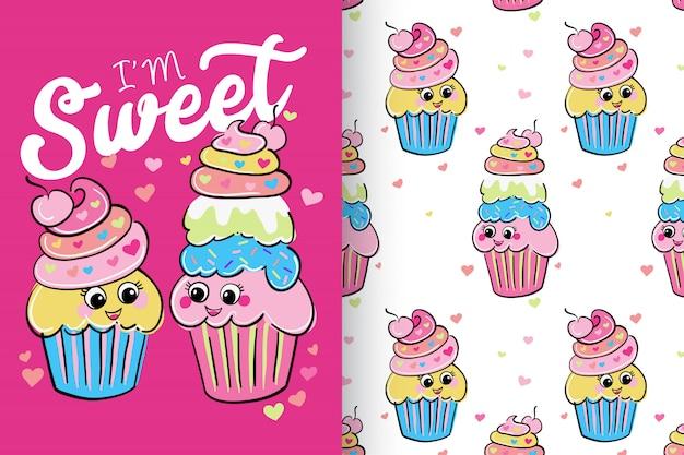Hand getrokken schattige cup cakes met patroon set