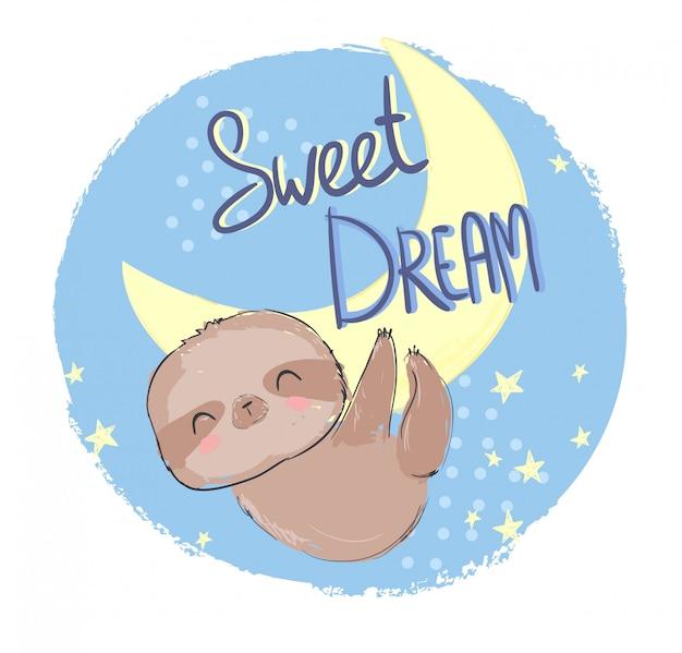 Hand getrokken schattige dieren luiaard en zin - sweet dream illustratie
