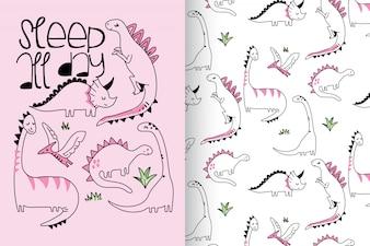 Hand getrokken schattige dinosaurus met patroon vector set