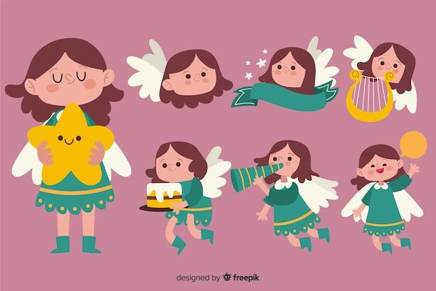 Hand getrokken schattige engel collectie