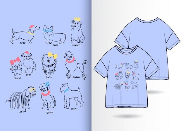 Hand getrokken schattige honden illustratie met t-shirt ontwerp