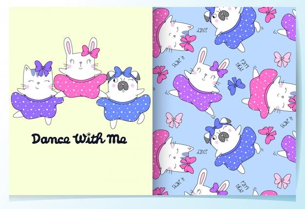 Hand getrokken schattige kat, konijn en hond patroon set