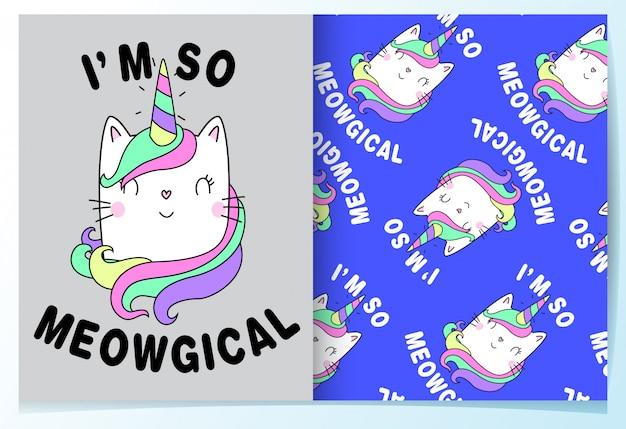 Hand getrokken schattige kat met slogan patroon set