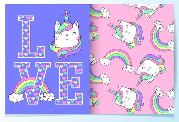 Hand getrokken schattige kat met typografie patroon ingesteld