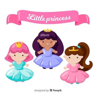 Hand getrokken schattige prinses collectie