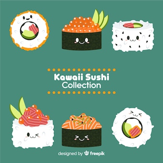 Hand getrokken schattige sushi-collectie
