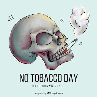 Hand getrokken schedel achtergrond met sigaar