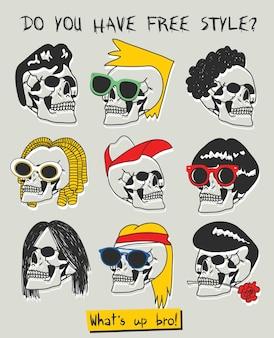 Hand getrokken schedel hoofden vector ontwerp voor t-shirt afdrukken Premium Vector