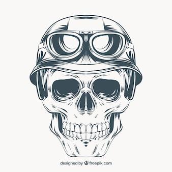 Hand getrokken schedel met helm en bril